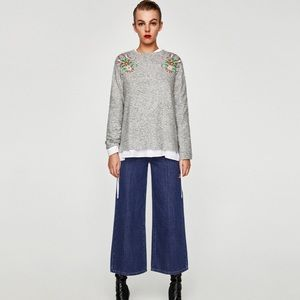 {zara} marled floral embroidered crew neck sweater